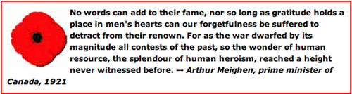 Remembrance Day quote from Prime Minister Arthur Meighen.