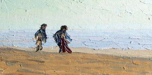 A painting by Helen Hoy showing two figures walking along a beach.