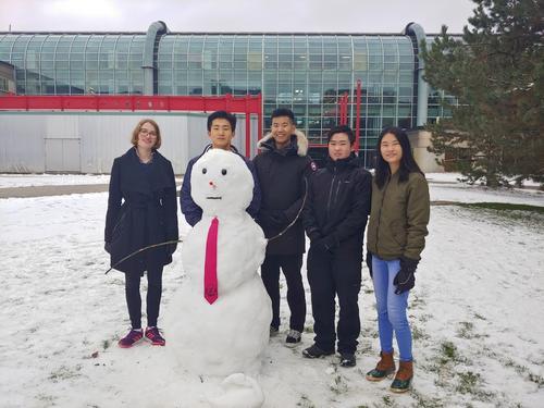 Math students build a snowman