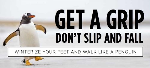 "Don't Slip and Fall"" poster with penguin."