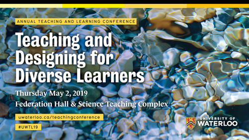 The 2019 Teaching and Learning Conference banner image showing smooth rocks underwater.