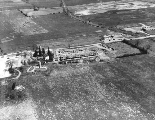 An aerial photo of the University of Waterloo campus when it was still mostly farmland.