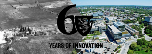 60th Anniversary wall header showing campus in 1957 and today