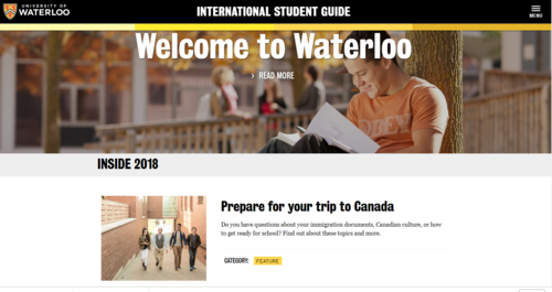 screenshot of website for international students