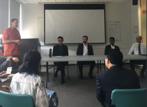 Panel members Dan Barry from Sun Life Financial, Waterloo co-op student Navin Vigneswaren, Geoff Williams from Manulife Financial, and Waterloo co-op student Nicholas Tan