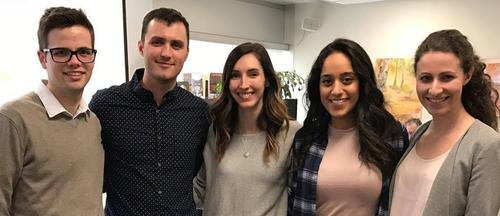 Rx2019 Blake Houle and the Rx2017 students on rotation in Sudbury - Matthew Filipovic, Jillian Belanger, Tayyaba Mawani and Monique Eisa.