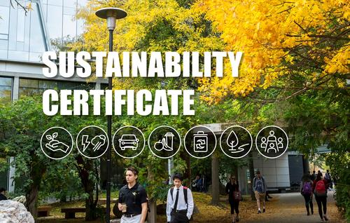"""Sustainability Certificate"" text over image of students walking through campus"