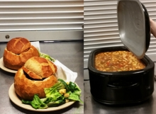 Bread bowls, Caesar salad and stew.