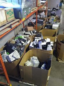 Central Stores' e-waste sorting area.