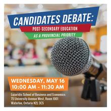 Candidate Debate image with a close-up of a microphone.