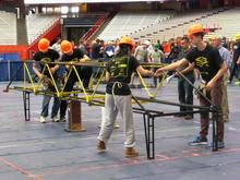 Students demonstrate their bridge in a previous competition.