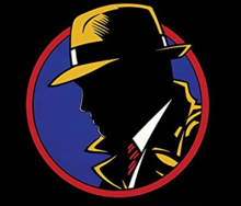 A stylized profile of Warren Beatty as Dick Tracy from the 1990 movie.