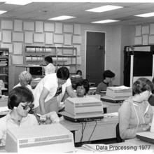 The keypunch room in MC 1059 in 1977.