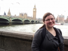 Jeneviere Kentner with Big Ben in the background.