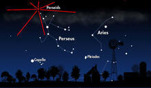 A map of the night sky showing the location of the Perseid meteor shower.