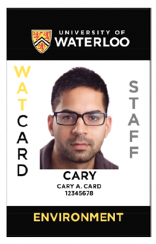 The new staff WatCard design, showing the vertical orientation.