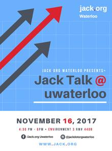 Jack.org event poster featuring three arrows pointing diagonally.