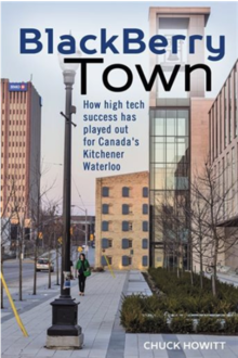 Cover art of book BlackBerry town with Kitchener buildings