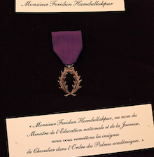 The Order of Academic Palms citation.