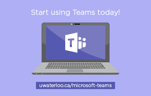 """Start Using Teams Today"" says a slogan above a laptop shown using Microsoft Teams software."