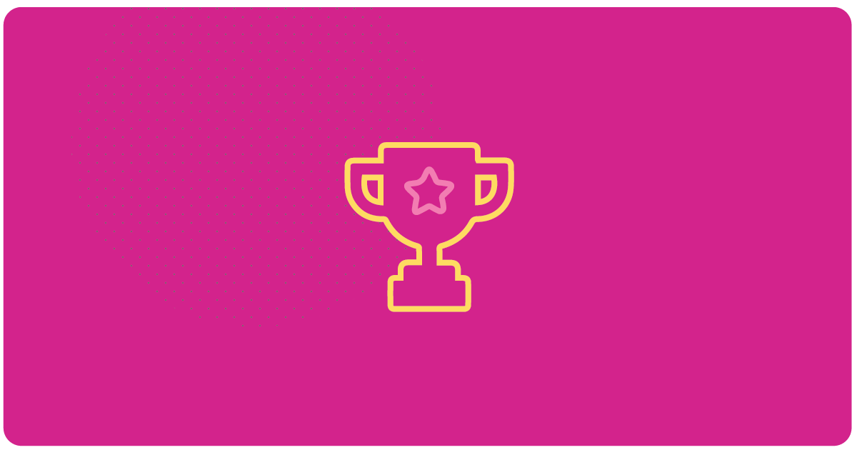 Trophy graphic with pink background