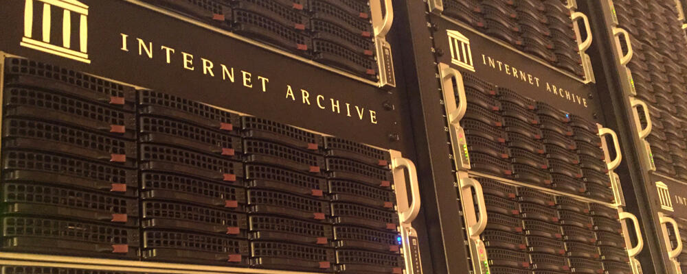 photo of computer stack at Internet Archive
