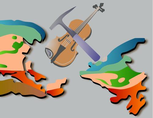 Illustration of Newfoundland and Laborador topopgraphy with a fiddle and rock hammer bow