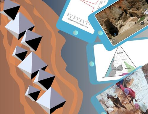 Illustration of octahedrons sticking out of a rock, with photos of researchers beside it