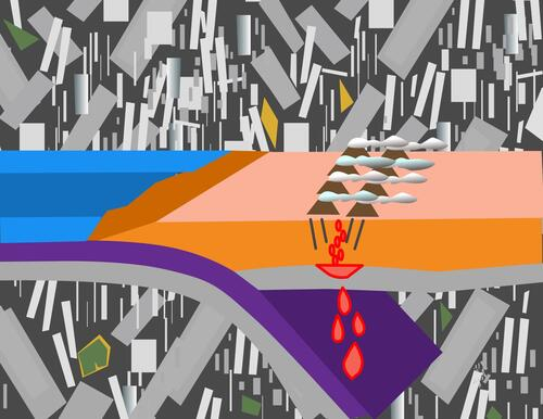 Illustration of subduction zone of two techtonic plates
