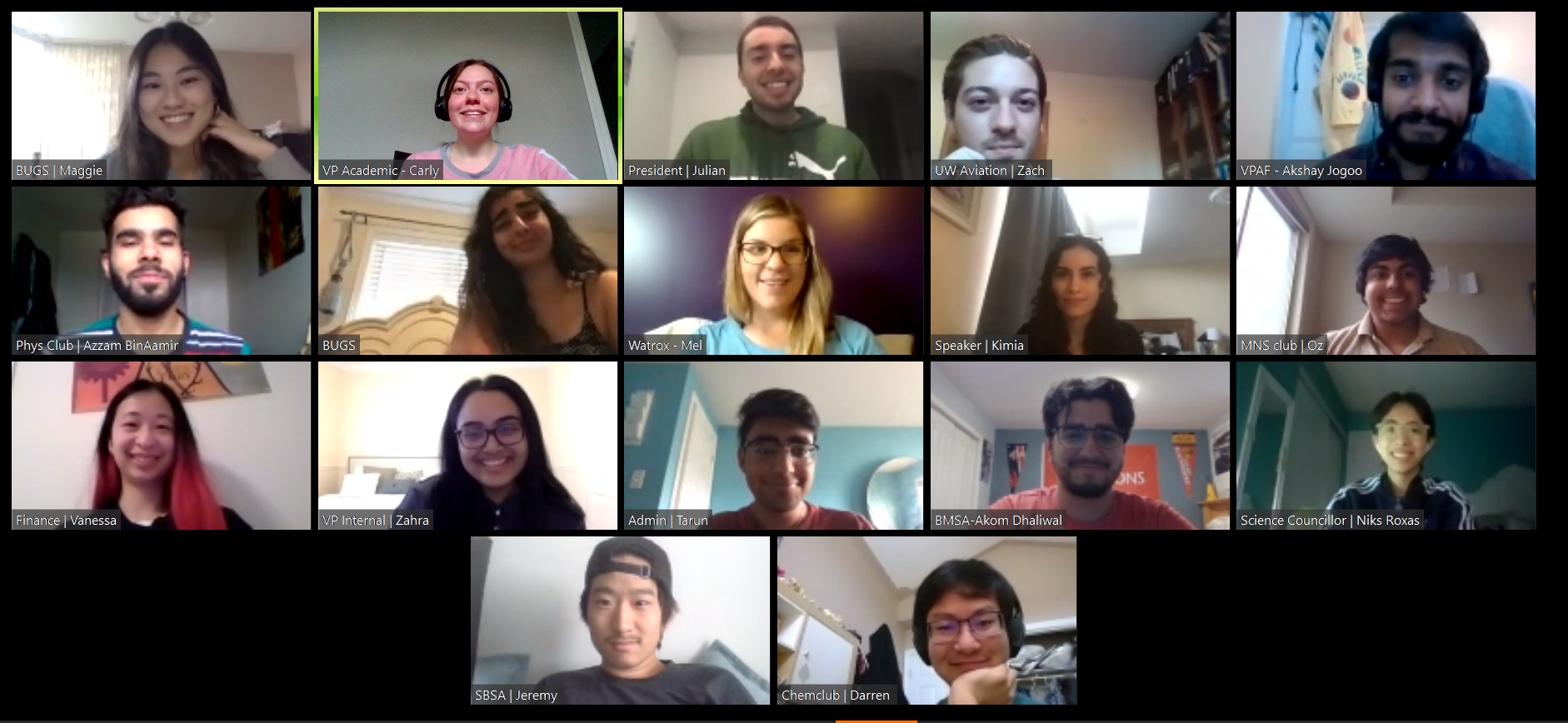 Image of all club representatives from Board of Directors meeting over zoom meeting