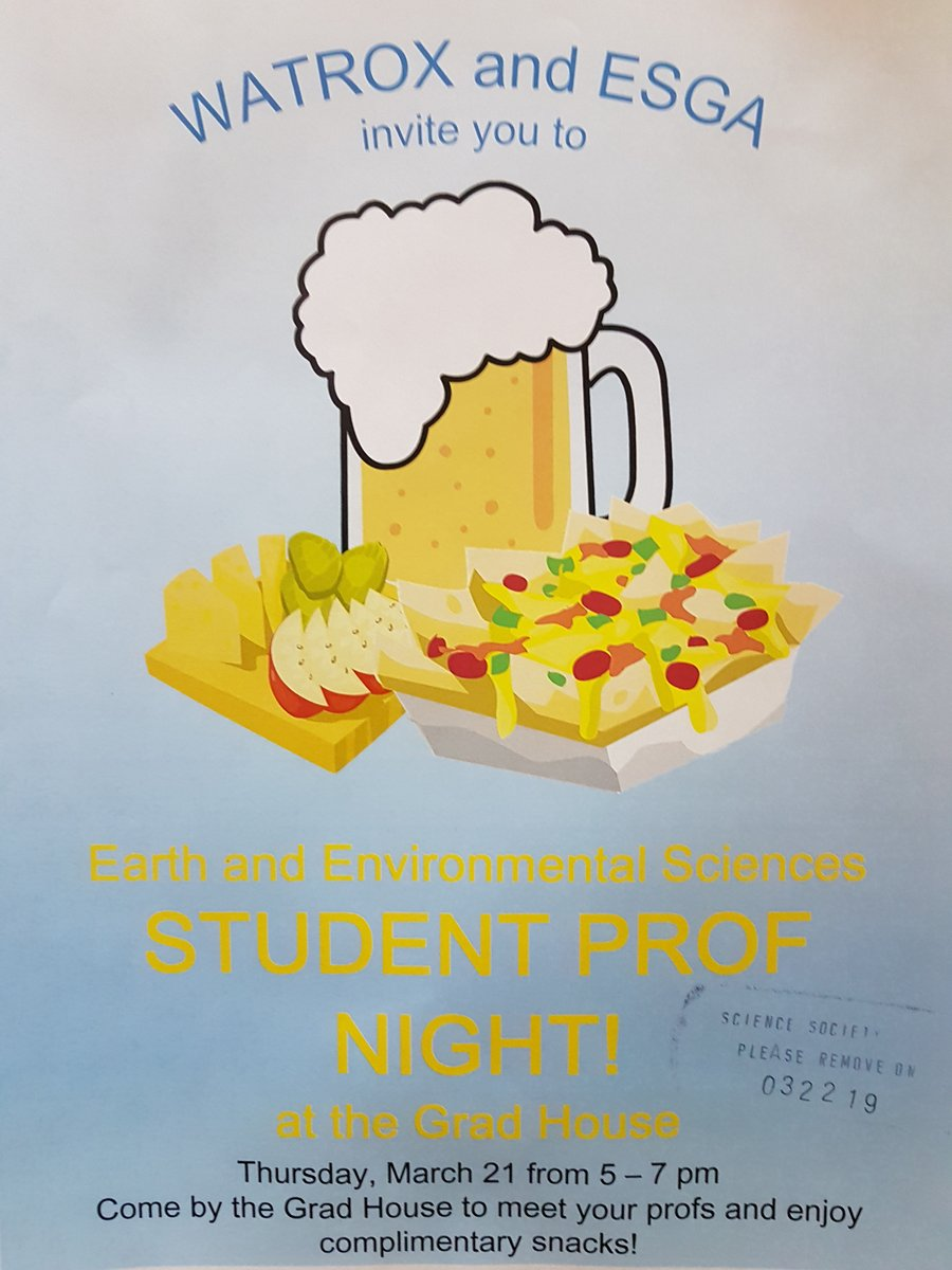 Earth Science student prof night march 21st 5-7 pm at the Grad House