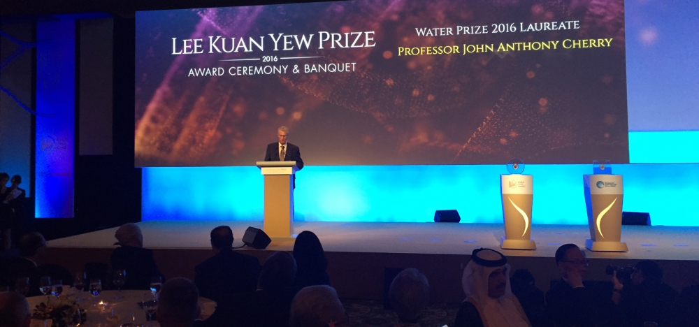 Prof. John Cherry giving his acceptance speech at the Lee Kuan Yew Prize in Singapore.