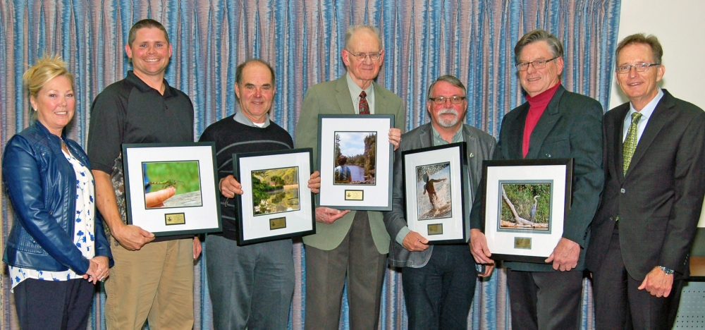 From left are GRCA Chair Helen Jowett, Joel Pegg (Youth Outdoors Day), John Rowe, Dr. Paul Karrow, Bob Desautels (The Neighbourh