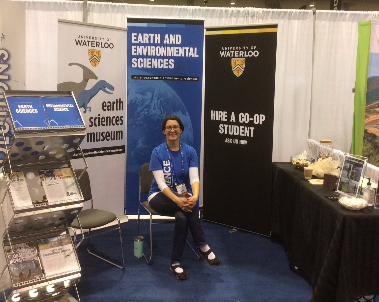 Alumni Corina McDonald (BSc '07 MSc '11and current Waterloo Earth Sciences Museum Curator) in the U Waterloo booth at PDAC 2020