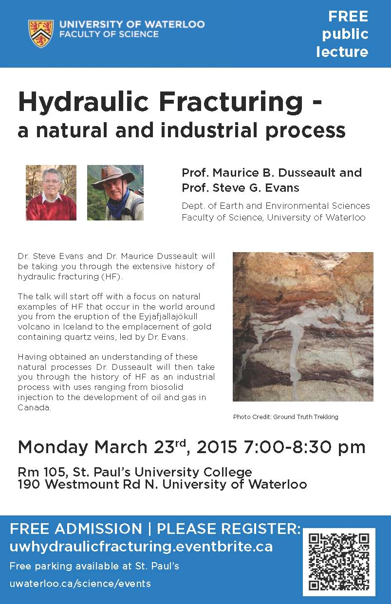 Hydraulic fracking public lecture on March 23, 2015