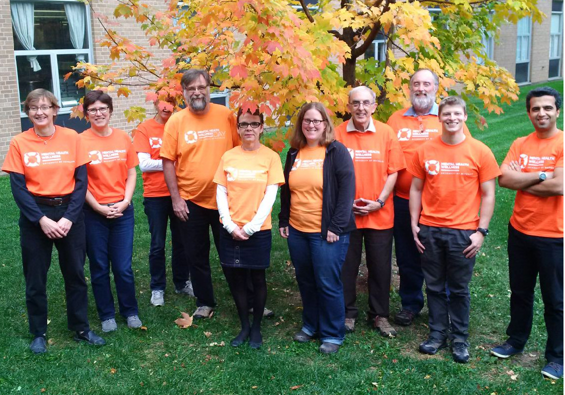 Earth and Environmental Sciences faculty, staff and students wear orange in support of Mental Health Awareness Day.