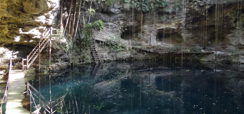X Canche Cenote near EK Balam Archeological site, Yucatan, Mexico.