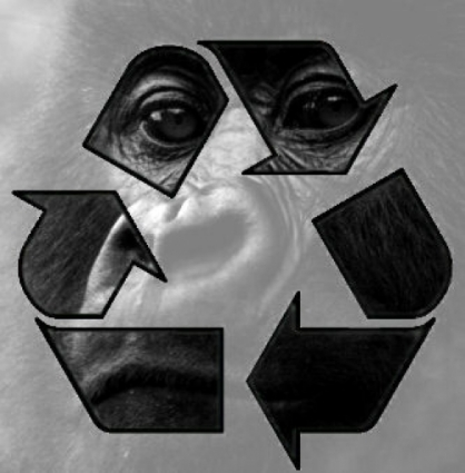 recycling symbole superimposed on photo of baby gorilla face in background