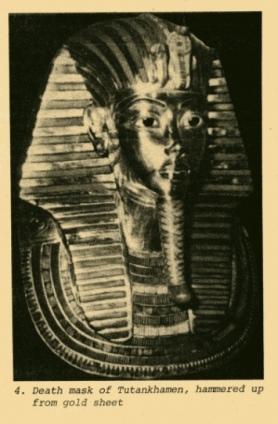 hammered gold death mask of egyptian king tutankhamen