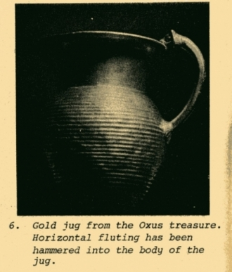 gold jug from the Oxus treasure with horizontal fluting detail that has been hammered in