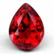 raindrop shaped red gemstone; Ruby