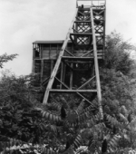 black and white picture of fluorite mine shaft