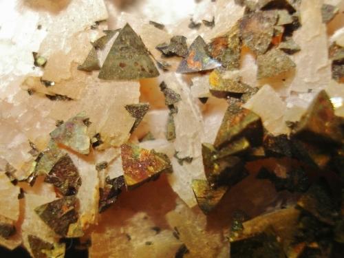 brown chalcopyrite crystals in dolomite