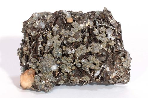 Pyrite after Marcasite with Calcite, Dolomite, and Sphalerite