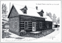 hand drawn black and white image of cottage with snow on roof in bancroft ontario