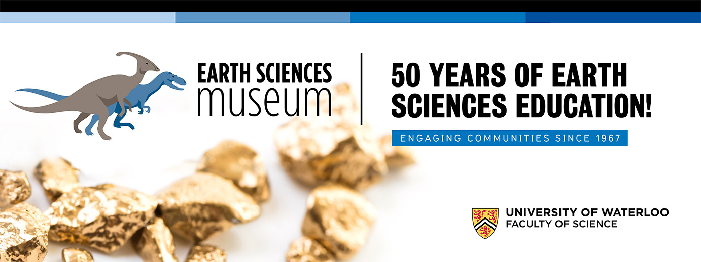 Banner representing the 50th Anniversary of the Earth Sciences Museum
