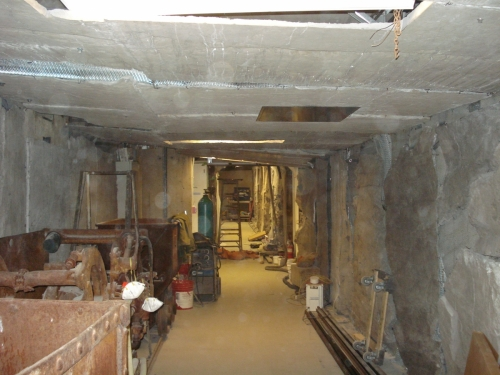 view of mine tunnel in process of being installed