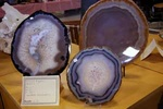 Agate slices on display