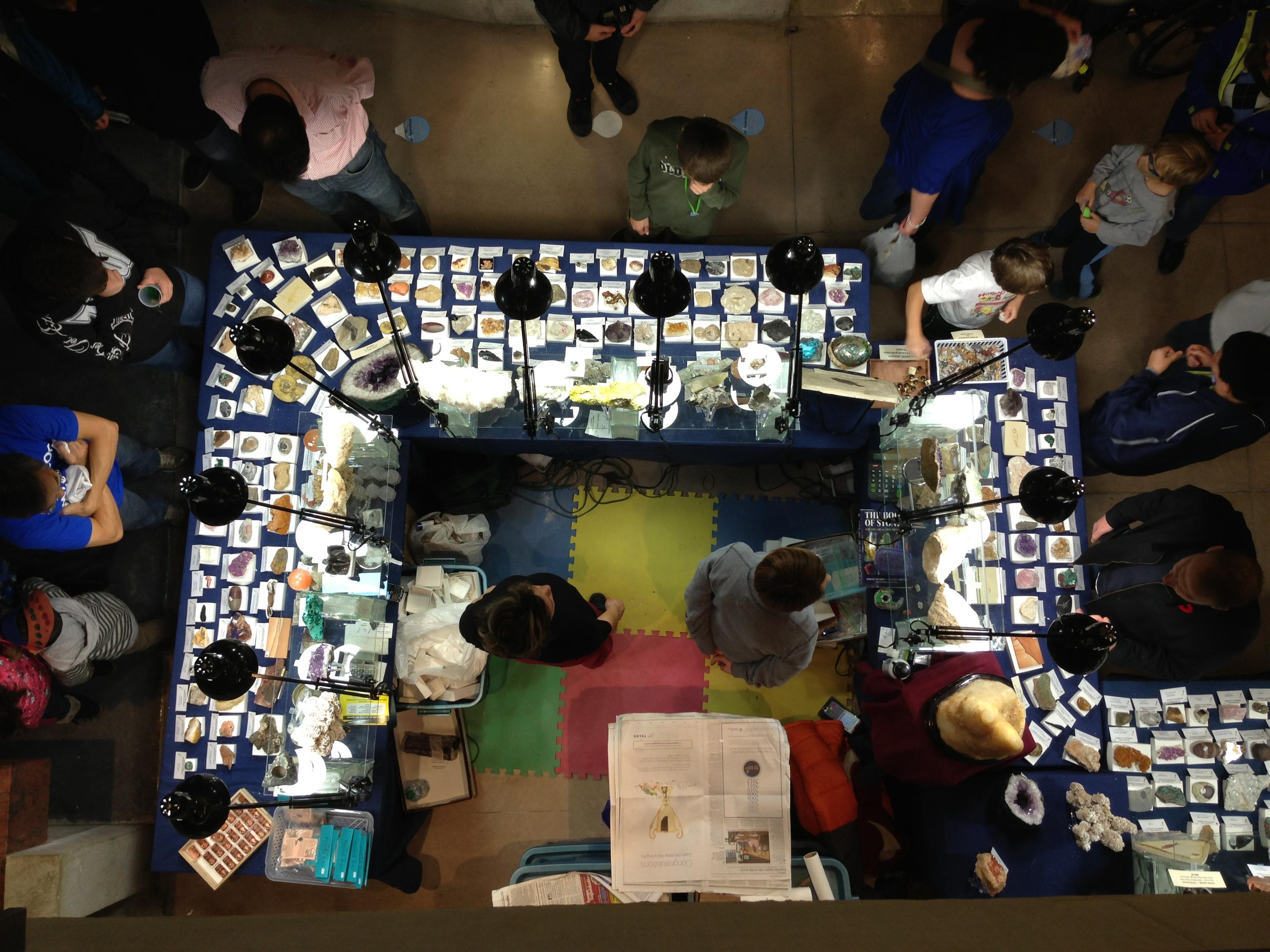Photo of mineral vendor table from above