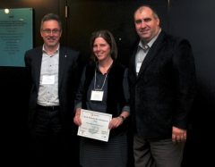 Philippe Van Cappellen, poster prize winner Kim Van Meter, and Sheldon Smith